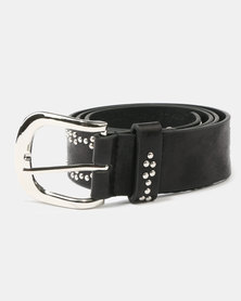 Queenspark Mini Stud and Eyelet Belt  Black