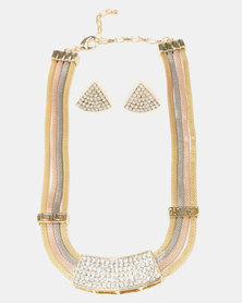 Queenspark Diamante Trim Detail Mesh Necklace with Earrings Metallics