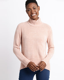 Utopia Chenille Turtle Neck Jumper Dusty Pink