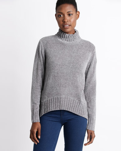 Utopia Chenille Turtle Neck Jumper Grey