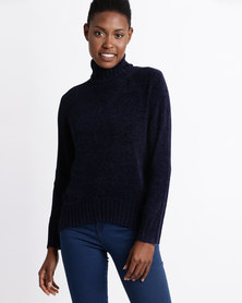 Utopia Chenille Turtle Neck Jumper Navy