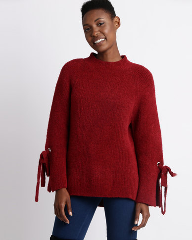 Utopia Wide Sleeve Jumper With Ties Red