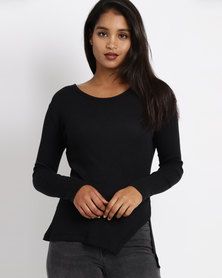 All About Eve Aaliyah Side Slit Top Black