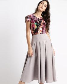 Jozsy Mia Pleated Dress Brown Multi