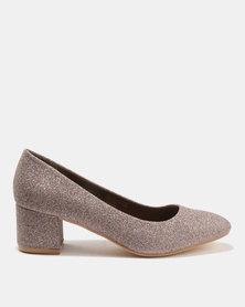 Bata Ladies Block Heel Glitter Dress Shoes Pink