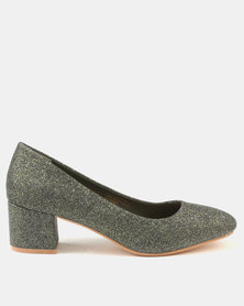 Bata Ladies Block Heel Glitter Dress Shoe Green