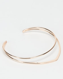 All Heart 2 Layer Solid Choker Rose Gold