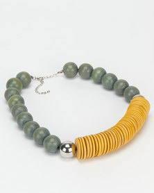 All Heart Bead & Mustard Disk Statement Necklace Grey