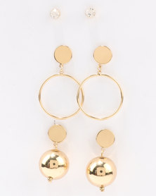 All Heart Crystal & Ball 3 Pack Earring Set Gold-tone
