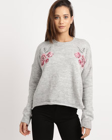 Utopia Boxy Jumper With Embroidery Grey