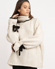 Utopia Tipped Poloneck Jumper Oatmeal