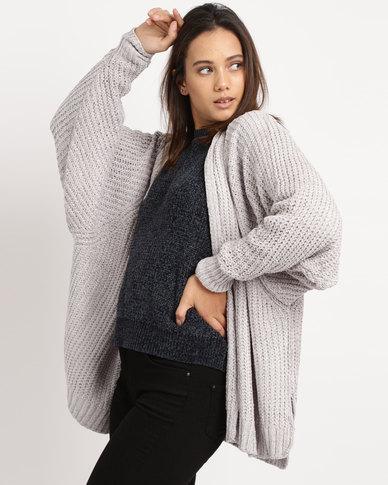 Utopia Chenille Oversized Cardigan Grey