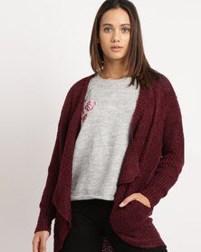 Utopia Waterfall Cardigan With Pockets Red