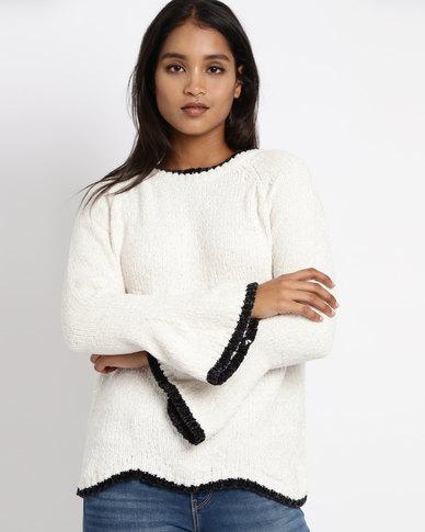 Revenge Bell Sleeve Knitwear Jersey Cream