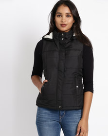 Revenge Padded Sleeveless Gilet Jacket Black