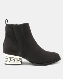 Utopia Chain Heel Boot Black