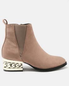 Utopia Chain Heel Boot Taupe