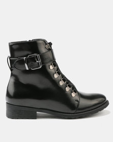Utopia Patent Lace Up Boot Black