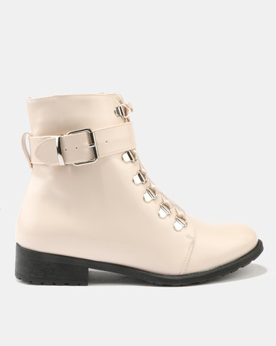Utopia Patent Lace Up Boot Beige