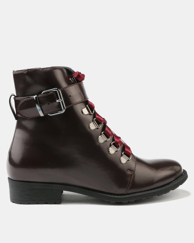 Utopia Patent Lace Up Boot Burgundy