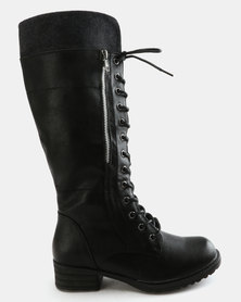 Utopia Knee High Lace Up Boot Black