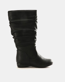 Franco Ceccato Girls Long Rushed Boots Black