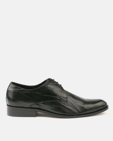 Franco Ceccato Crinkled Leather Lace Up Gibson Black