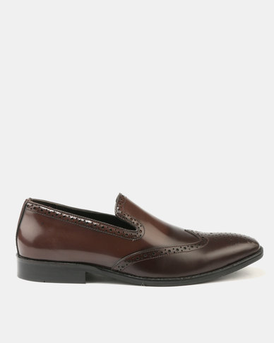 Franco Ceccato Leather Slip On Hi-Shine with Toe Spray Brown