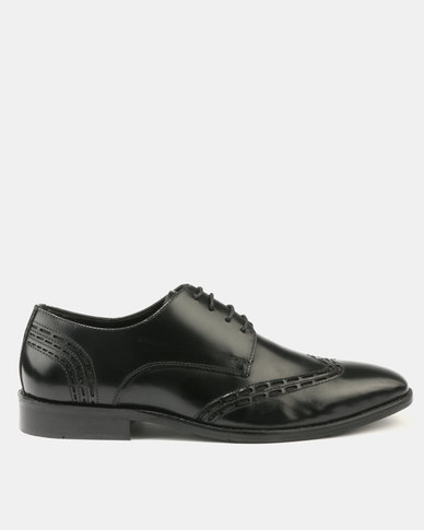 Franco Ceccato Perforated Leather Lace Up with Detail on Vamp Quarter Black