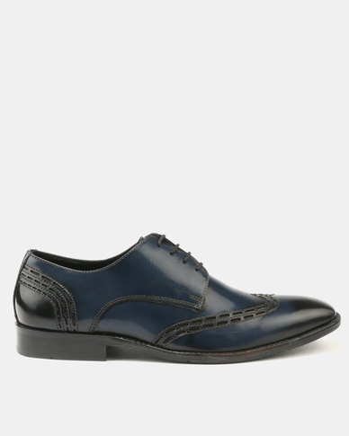 Franco Ceccato Perforated Leather Lace Up with Detail on Vamp Quarter Navy
