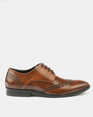 Franco Ceccato Perforated Leather Lace Up with Detail on Vamp Quarter Tan