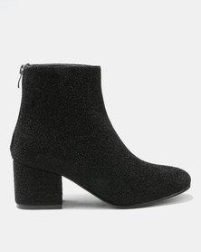 Utopia Shimmer Block Heel Boots Black