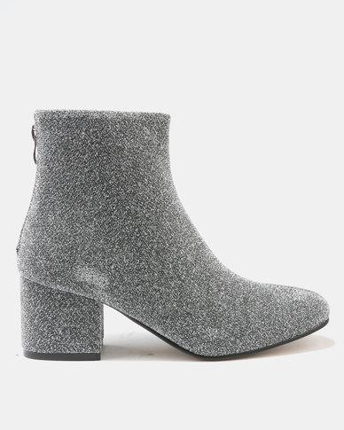 Utopia Shimmer Block Heel Boots Silver
