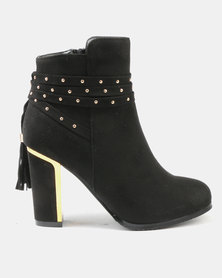 Utopia Metal Heeled Ankle Boots Black