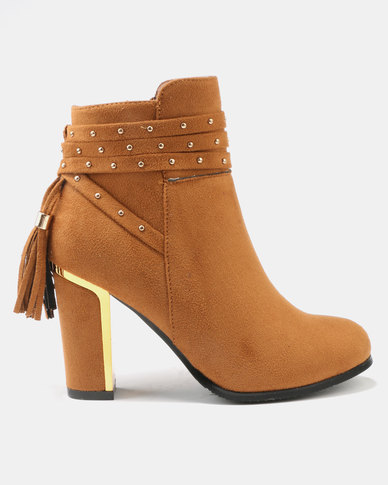 Utopia Metal Heeled Ankle Boots Tan