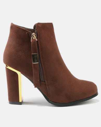 Utopia Suedette Heeled Boots Brown