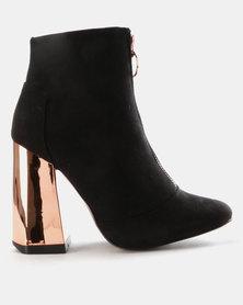 Utopia Front Zip Block Heel Boots Black