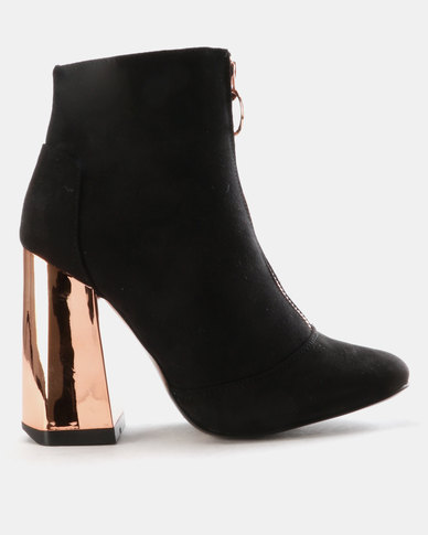 Utopia Front Zip Block Heel Boots Black