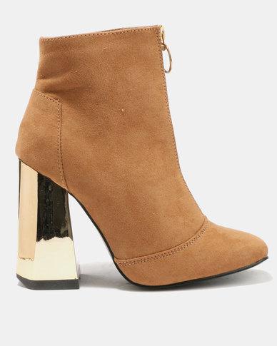 Utopia Front Zip Block Heel Boots Tan