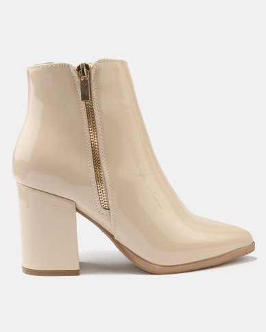Utopia Hi Shine Heeled Boots Nude