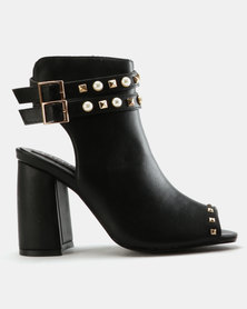 Utopia Studded Peep Toe Black