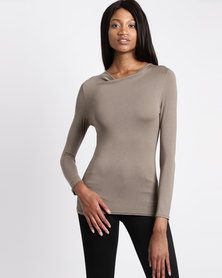Assuili Kea Long Sleeve Top With Back Lace Taupe