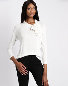 Assuili Vioilette Top With Collar Bow Ivory