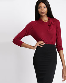 Assuili Vioilette Top With Collar Bow Red