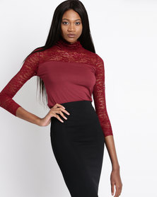 Assuili Long Sleeve Lace Top Red