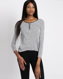 Assuili Top Round Neck Zip Grey