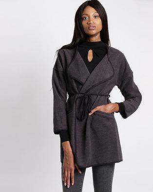Assuili Gilda Long Edge Leather Coat Grey