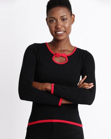 200a7ada76ef76 Assuili William de Faye Bi-Color Round Neck Sweater Black   Zando