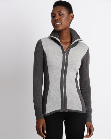 Assuili William de Faye Bi-Material Zip Sweater Grey
