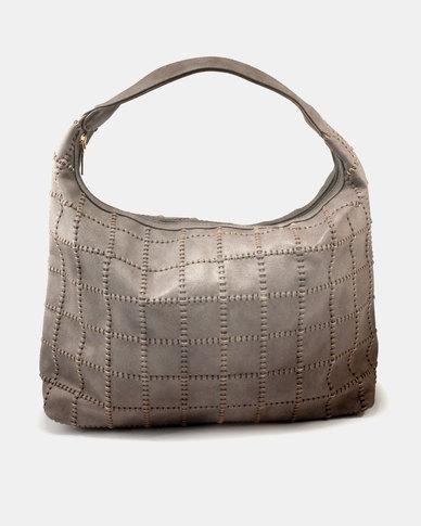 Queue Leather Like Hobo Bag Grey